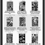 Black and white covers of the various Phantacea comics and graphic novels