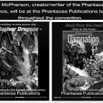 Advertisement appearing the convention brochure for APE - Alternative Press Expo, features b/w versions of front covers for Nuclear Dragons and the Damnation Brigade graphic novel