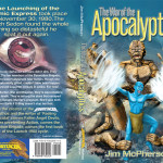 Ian Bateson's full colour, wraparound cover for The War of the Apocalyptics, 2009
