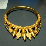 A golden neck torc fashioned ca 500 BC, unearthed in 1990s near Glauberg, Germany; image taken from Web