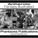 3 comic book covers incorporated in ad for Phantacea Publications