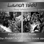 Ad for the last two novels in the Launch 1980 story cycle, prepared by Jim McPherson, 2014