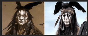 Kirby Sattler's design side by side with Johnny Depp's Tonto in Lone Ranger movie released by Disney Studios