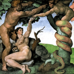 Michelangelo's version of Lilith as the serpent in the garden, image taken from web