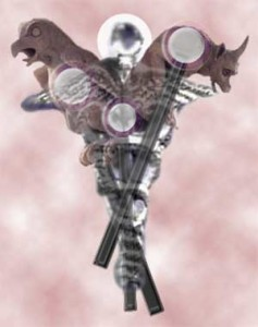 Caduceus with gargoyles collage prepared by Jim McPherson