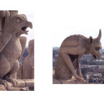 Two gargoyles atop Notre Dame, photos by Jim McPherson, 2004