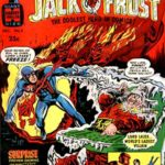 Blow up of Jack Q Frost superhero comic cover from mid-60s, artist uncredited