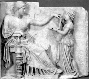 Funerary frieze from 1st Century BC supposedly showing a laptop computer complete with USB ports
