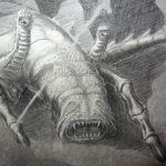One of Harryhausen's sketches of Scylla, photo by Jim McPherson, 2017