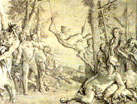 Fauns at play, by Tiepolo, as scanned in from a book bought in Venice, 2008