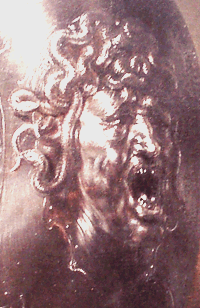 Medusa's Head on Athena's shield, painting spotted in