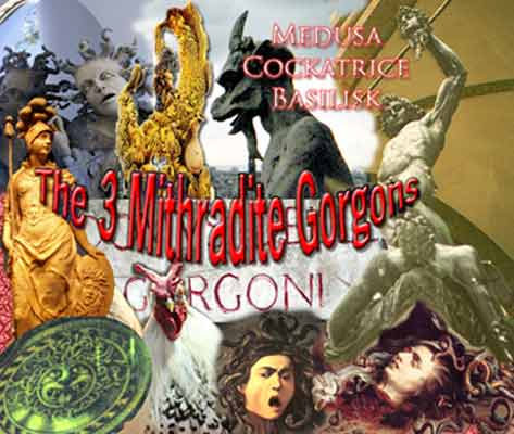 Collage featuring the 3 Mithradite gorgon, prepared by Jim McPherson, 2008
