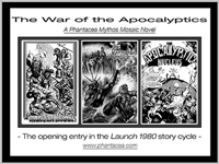 B/w promos for Launch 1980 novels, prepared by Jim McPherson, 2014, utilizing panels from the Phantacea Comic Book series
