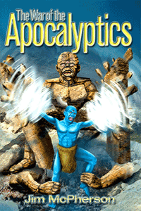 Front Cover for War of the Apocalyptics, artwork by Ian Bateson 2009