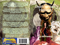 Front and back cover for The Death's Head Hellion, artwork prepared by Jim McPherson, 2010