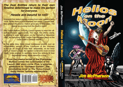Print and digital covers for Helios on the Moon, artwork by Ricarco Sandoval, 2014; text and rollover prepared by Jim McPherson, 2014