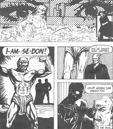An adulterated page from ph4Ever featuring the birth of the Devil, art by Ian Fry, late 1980s, alduteration by Jim McPherson, 2006