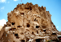 Hoodoo housing spotting in Cappadocia, photo by Jim McPherson, 2003