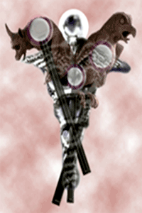 Caduceus Gargoyles on Pink Bg, prepared by Jim McPherson