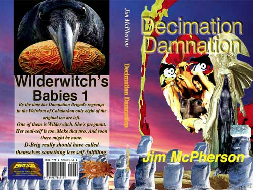 Final full cover for Decimation Damnation, cover collage and text by Jim McPherson, 2016
